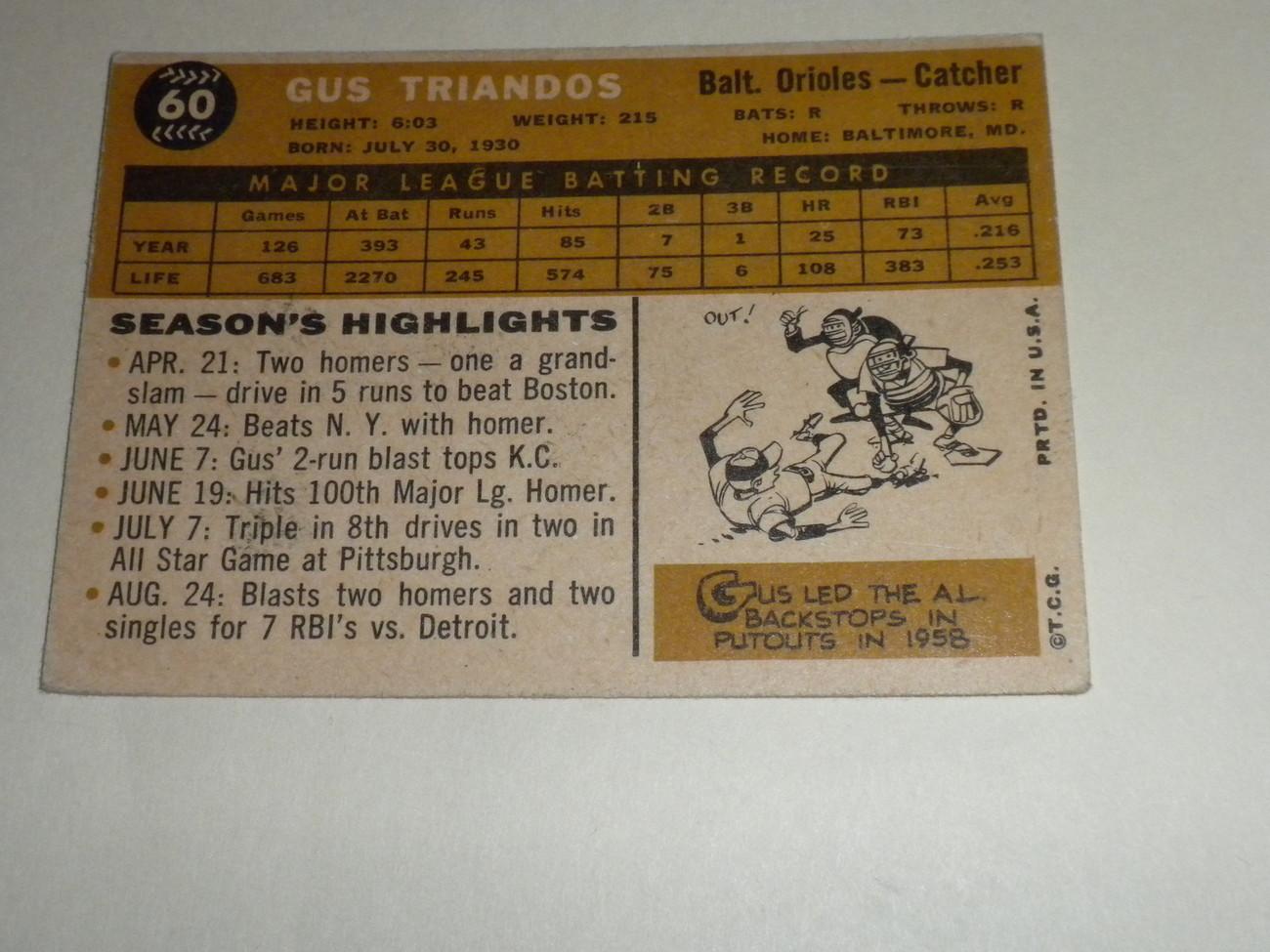 Gus Triandos # 60 Baltimore Orioles 1960 original TOPPS baseball card EXMT+