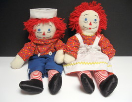 """Raggedy Ann and Andy Dolls - 18"""" - Embroidered """"I Love You"""" Hearts - $18.99"""