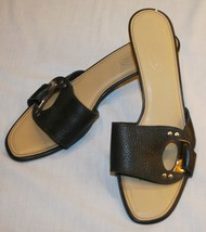Talbots Black Pebble Heels Sandals Slip On Sz 8B 8 B - $18.07