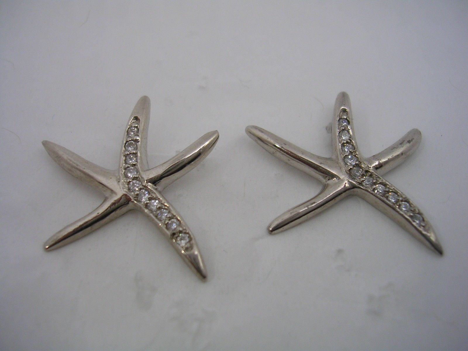 Primary image for STARFISH STUD EARRING WITH CUBIC ZIRCONIA SET IN STERLING SILVER