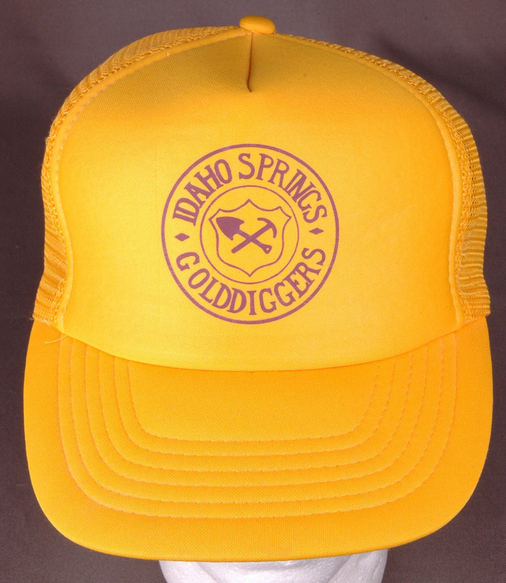 Primary image for Vtg Idaho Springs Golddiggers Trucker Hat-Snapback-Mesh-Yellow-Pick Shovel-Mine.