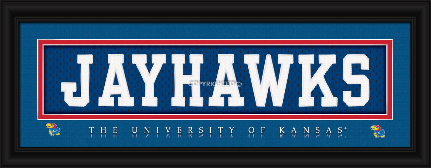 University of Kansas Officially Licensed Stitched Jersey Framed Print- 3 Designs