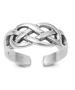 Twisted Adjustable Toe Ring For Women's 14k White Gold Over 925 Sterling... - $9.99