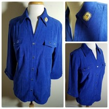 JM Collection Women's Top Blouse Microsuede Royal Blue 3/4 Sleeve Button Up L - $32.54