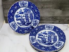 4 Antique Copeland 1851-85 Porcelain Dinner Plates Blue Floral & Willow ... - $99.00