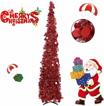 Collapsible Christmas Trees 5 Foot Artificial Tinsel Xmas Tree, Pop Up - $49.99