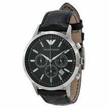 Emporio Armani AR2447 Classic Cronograph Black Leather Wrist Watch For Men - $66.01