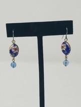 Vtg Cloisonne floral dangle earrings blue pink jewelry  - $23.76