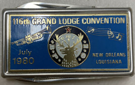 Elks Grand 116 Convention 1980 Knife & Nail File Stainless Money Clip - $18.69
