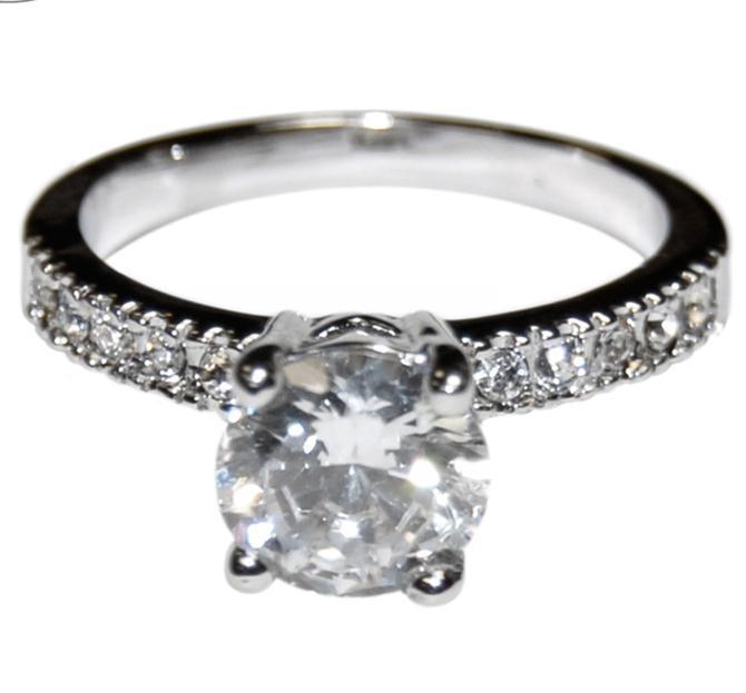 Primary image for THE LOOK OF REAL ROUND & PAVE CUT BRIDAL CLEAR CUBIC ZIRCONIA BAND RING