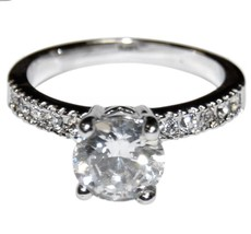 The Look Of Real Round & Pave Cut Bridal Clear Cubic Zirconia Band Ring - $19.99