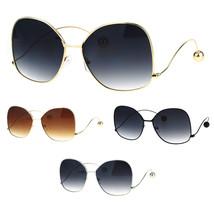 Womens Oversize Gradient Lens Swan Drop Temple Metal Rim Diva Sunglasses - $12.95