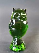 Deep Green Reijmyre Crystal Owl Figurine Sweden FREE SHIP - $17.95