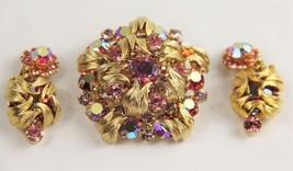 D&E JULIANA DELIZZA ELSTER PINK RHINESTONE VENUS FLAME SET EARRINGS & BR... - $225.00