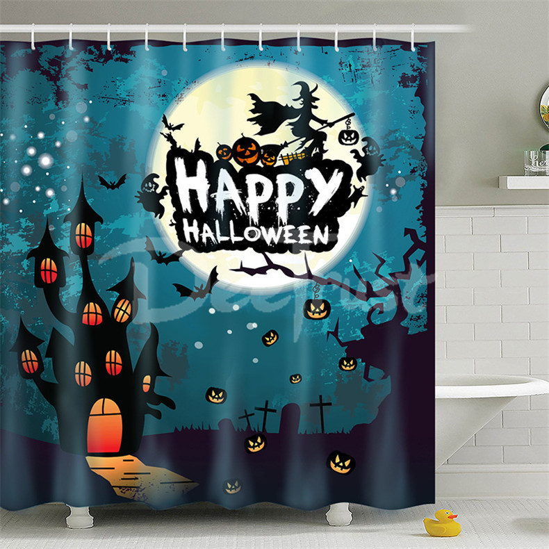 Party Happy Halloween 32 Shower Curtain Waterproof Polyester Fabric For Bathroom