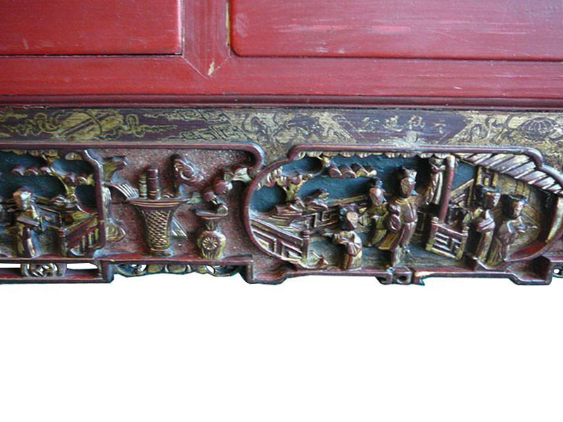 Vintage Red Golden Scenery Carved Decor Wall Panel s585