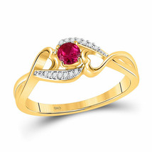 10kt Yellow Gold Womens Round Lab-Created Ruby Heart Ring 1/5 Cttw - £135.76 GBP