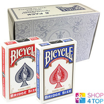 6 DECKS BICYCLE RIDER BACK BRIDGE SIZE 3 BLUE 3 RED BOX CASE PLAYING CAR... - $27.71