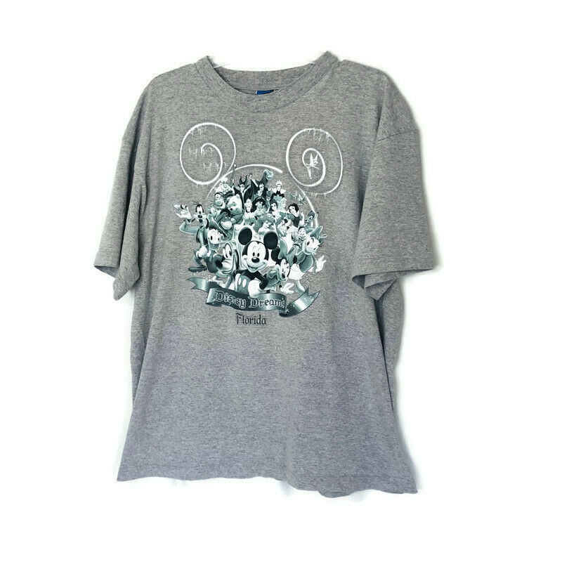 Disney Size XL Light Gray T-Shirt Disney Dreams Florida Walt Disney World  - $16.79