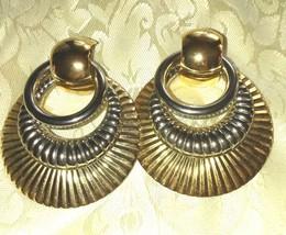 Large Vintage Earrings Gold &Silver Tone Door Knocker Elegant Earrings P... - $16.69