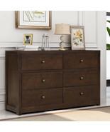 3 Tier Rich Brown Storage Cabinet Home Organizer Furniture 6 Drawer Dresser - $465.29