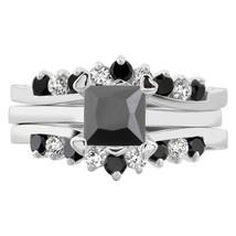 3 pcs Princess Cut Black Cubic Zirconia Sterling Silver 925 Bridal Ring ... - $34.99