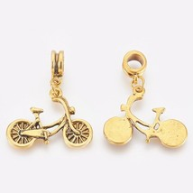2 Bicycle Bead Charms Antiqued Gold European Big Hole Pendant Cyclist 33mm - $2.99