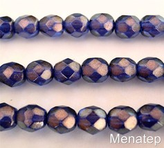 25 6 mm Czech Glass Firepolish Beads: Halo - Ultramarine - $2.96