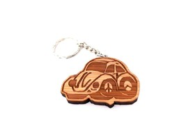 Bug Style Wooden Car KEYCHAIN Lot Pack 3 VOLKY ... - $9.27
