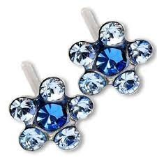 Primary image for 3 Pair Silver September Light Sapphire Daisey Ear Piercing Earrings System 75 Ca