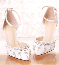 White Wedding Shoes,Swarovski Crystals Ankle Wraps Bridal Shoes,Wedding ... - $49.99