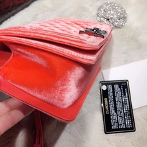 100% AUTHENTIC CHANEL CORAL VELVET QUILTED LAMBSKIN SMALL BOY FLAP BAG SHW image 8