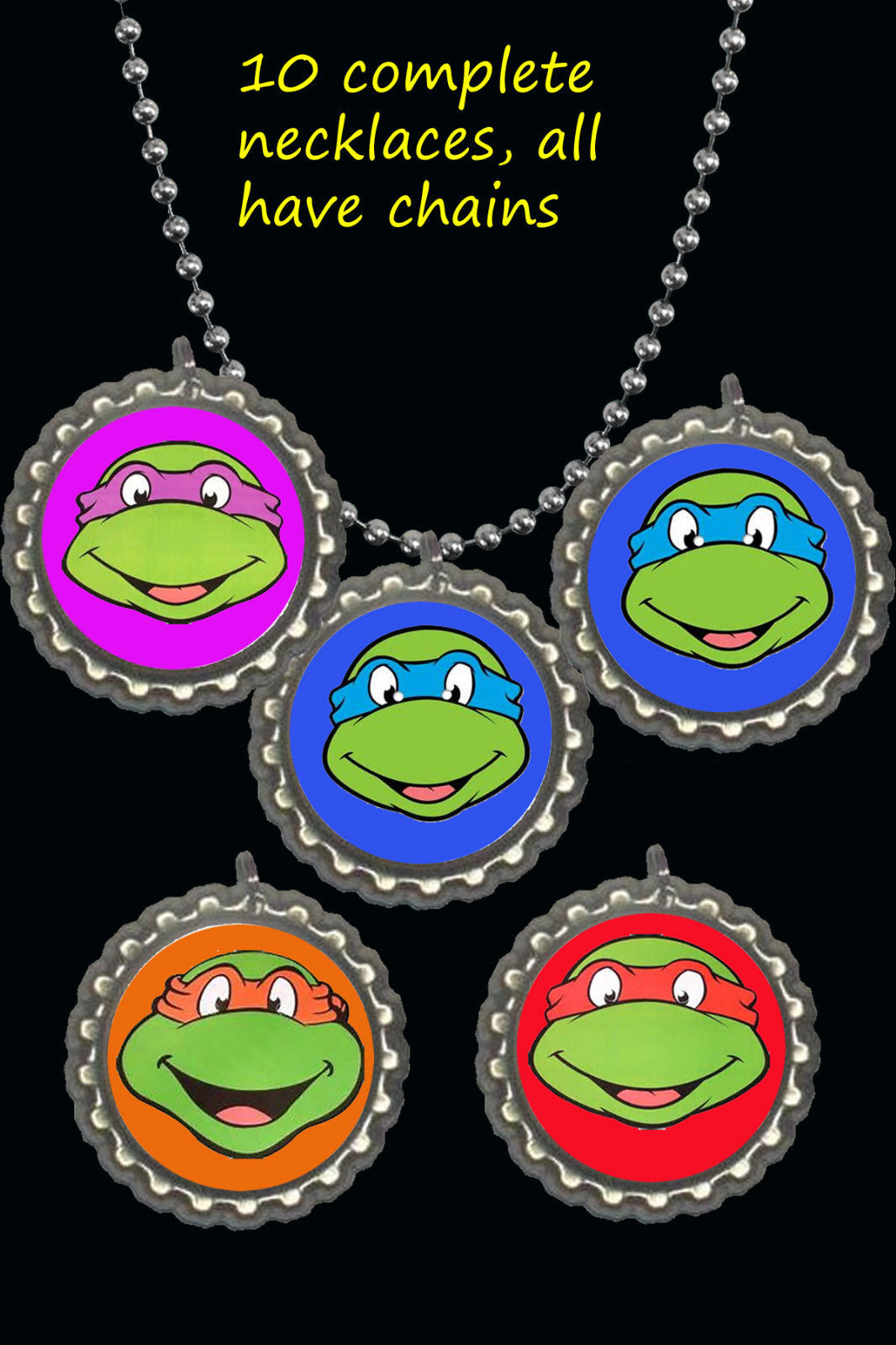 Primary image for teenage mutant ninja turtles tmnt party favors lot of 10 necklaces necklace