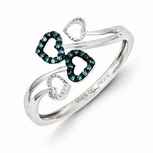 Primary image for STERLING SILVER BLUE & WHITE DIAMOND MULTI HEART FREE FORM RING - SIZE 7