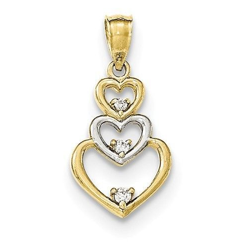 Primary image for 10K GOLD TWO-TONE GRADUATED 3 HEARTS OPEN TRIPLE HEART CZ JOURNEY PENDANT CHARM