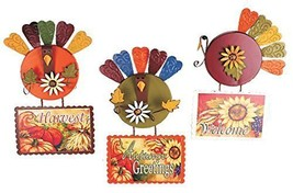 Metal Funky Turkey Autum Sign (Set of 3) - $23.49