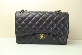 Authentic Chanel Maxi  Double Flap Black Lambskin Bag GHW