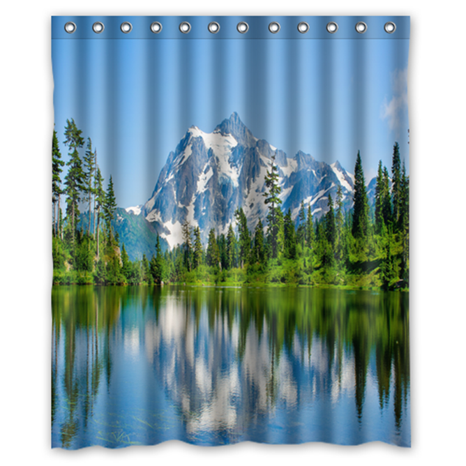 Primary image for Lake Mountain #02 Shower Curtain Waterproof Made From Polyester