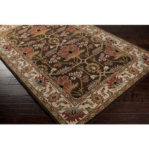 "4x6 (3'3"" x 5'3"") Arts & Crafts Mission Style William Morris Brown Wool ... - $230.00"