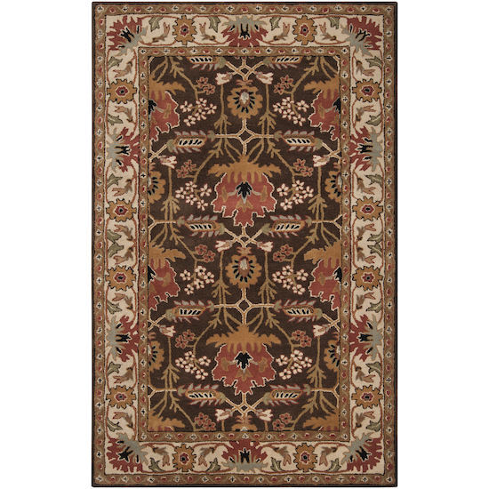 "4x6 (3'3"" x 5'3"") Arts & Crafts Mission Style William Morris Brown Wool Area Rug"