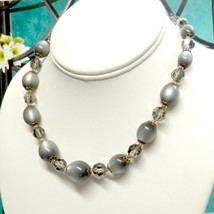 "Vintage JAPAN Silver Acrylic Moonglow & Crystal Beads Necklace 15"" plus ... - $15.00"