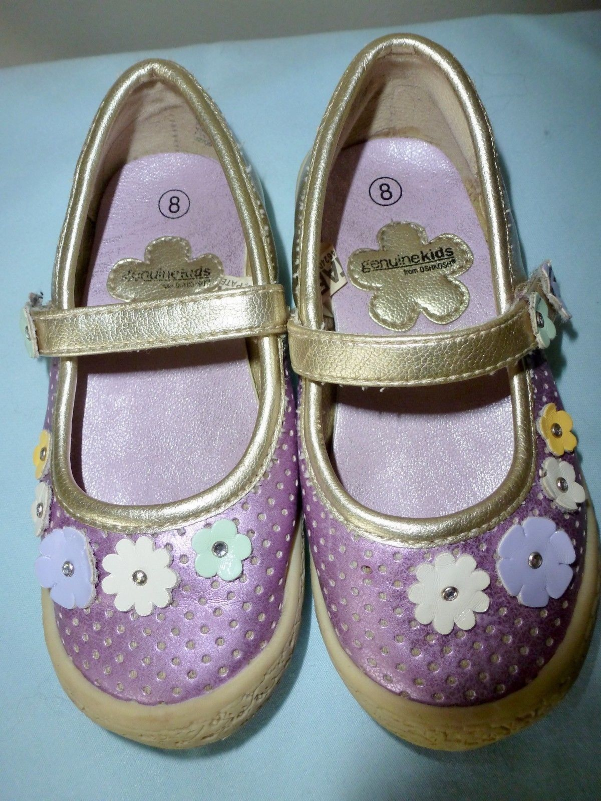 Primary image for SHOES Toddler GENUINE KIDS OSHKOSH Sz 8 Lavender/Gold w/Multicolor Flowers EUC
