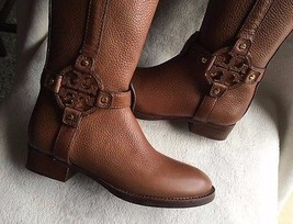 Tory Burch AMANDA TUMBLED LEATHER brown ALMOND Riding Boots sz 5 NEW - $241.86