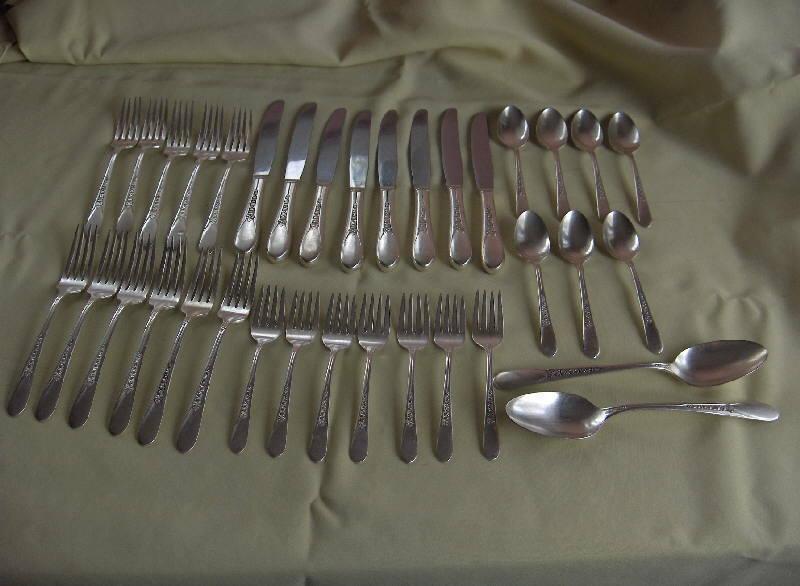 Primary image for Vintage 34-Piece Silver Plate Flatware,Priscilla,Lady Ann,1960 NICE
