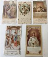 5 - Antique Christian Communion Cards, France 1913-1914 Lithographs w/Gilt - $32.61