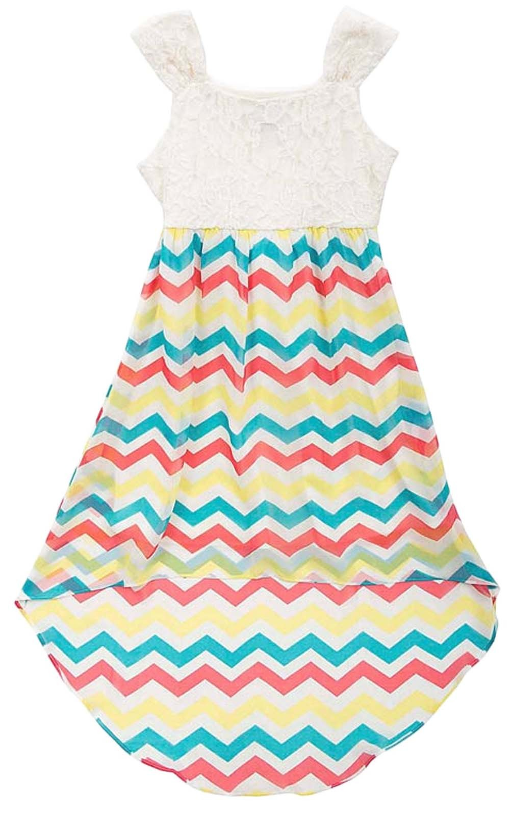 Primary image for Big Girls Tween 7-16 Lace to Chevron Stripe Chiffon High Low Maxi Dress