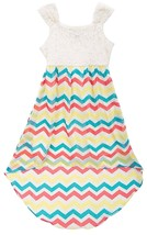 Big Girls Tween 7-16 Lace to Chevron Stripe Chiffon High Low Maxi Dress