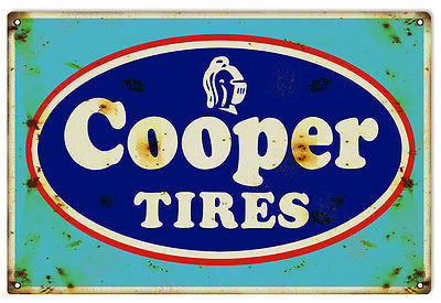 "Primary image for Reproduction Cooper Tires Sign 12""x18"""
