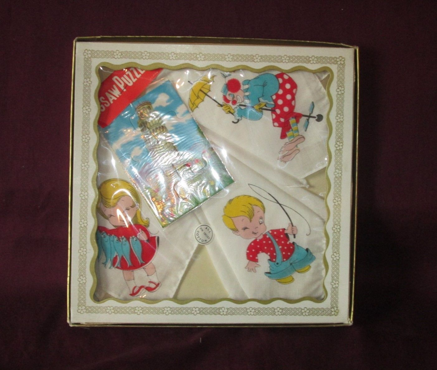 Vintage BOXED Set of 3 Childrens HANKIES HANDKERCHIEFS with Jigsaw Puzzle -1950s image 2