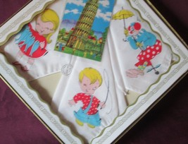 Vintage BOXED Set of 3 Childrens HANKIES HANDKERCHIEFS with Jigsaw Puzzle -1950s image 3